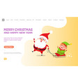 christmas major joy card with santa claus and elf vector image vector image