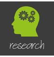 cogwheel in head technical machine research design vector image vector image