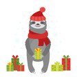 cute cartoon sloth with gifts vector image vector image