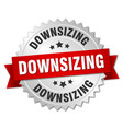 downsizing round isolated silver badge vector image vector image