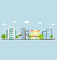 downtown landscape modern building flat design vector image vector image