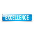 excellence blue square 3d realistic isolated web vector image vector image