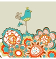 Floral garden and cute bird vector image vector image