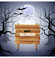 Foggy forest with wooden sign Halloween background vector image vector image