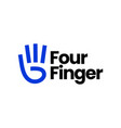 four finger hand gesture logo icon vector image