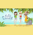 girls on summer beach vacation concept seaside vector image vector image