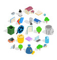 great house icons set isometric style vector image