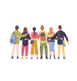 group young friends standing with their backs vector image