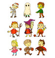 halloween kids funny kids in creepy costumes set vector image