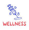 hand draw doodle wellness medical syringe icon vector image