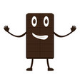 happy chocolate bar cartoon character vector image vector image
