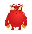 happy red cartoon monster vector image vector image