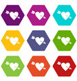heart with arrow icon set color hexahedron vector image vector image