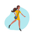 hurrying young woman in vector image