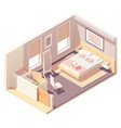 isometric bedroom and wardrobe vector image vector image