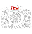 italian pizza and ingredients top view frame vector image