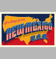 july 4th new mexico usa retro travel postcard vector image