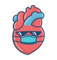 kawaii human heart wearing face mask cartoon vector image
