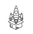 line box with technology rocket out side vector image vector image