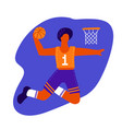 male basketball player with ball basketball vector image