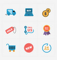 modern colorful shop icons on black vector image