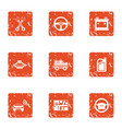 online parking icons set grunge style vector image vector image