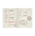 passport pages with international stamps of usa vector image vector image