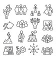 people line icons set isons for teamwork vector image vector image