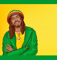 pop art rastafarian with dreadlocks beard vector image