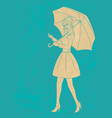 pretty girl with umbrella vector image vector image