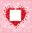 red heart pink background with banner vector image vector image
