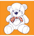 Retro bear on orange background with bow vector image