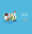 scientists research coronavirus antivirus vaccine vector image vector image