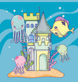 sea animal in the castle with seaweed plants vector image vector image