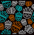 Seamless pattern skull in headdress vector image