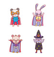 set of animals halloween costume vector image