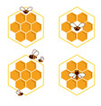 set of honeycomb and bee sketch icons logo vector image vector image