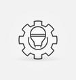 smart led light bulb in gear or cog outline vector image vector image