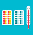 tablets ahd a thermometer icon vector image vector image