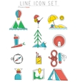 Travel line icons set Outdoor equipment camping vector image