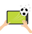 two hands holding genering tablet pc gadget male vector image vector image