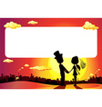 wedding silhouette in sunset - frame vector image vector image