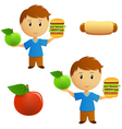 young men with food vector image vector image