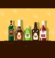 alcohol bottle set brandy and wine vector image