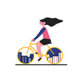 a city bike girl flat style vector image vector image