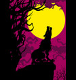 banner with a howling wolf and a moon vector image vector image