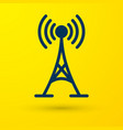 blue antenna icon isolated on yellow background vector image vector image