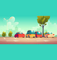 cars on city street parking with road marking vector image vector image