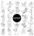 cartoon fantasy characters large set color book vector image