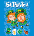 cartoon st patrick day poster vector image vector image